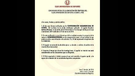 Universitario: Club comunica situación de Dalton Moreira tras dopping