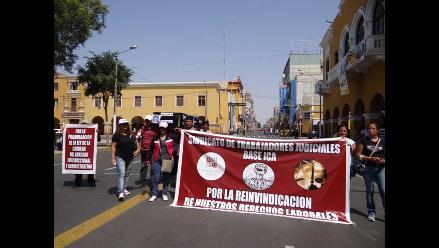Continúan protestas de trabajadores judiciales en Ica