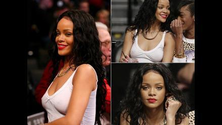 Rihanna deslumbra en playoffs de la NBA con sexy transparencia