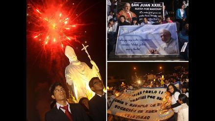 Manchay realizó vigilia por canonización de Juan XXIII y Juan Pablo II