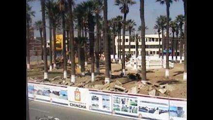 Aseguran no haber tocado ninguna palmera durante obra en plaza de Chincha