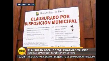 Municipio de Lince clausuró local de Qali Warma