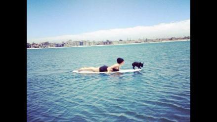 ¡Lady Gaga surfeó junto a su perrita!