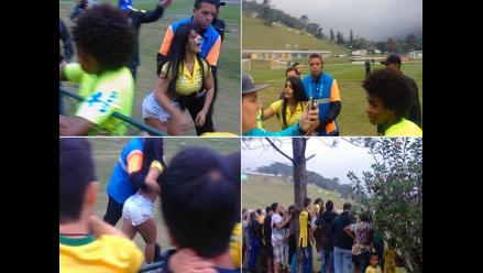 Bailarina burló seguridad del equipo de Brasil para entregarle CD a Hulk