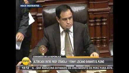 Otárola y Lescano protagonizan altercado en el Pleno