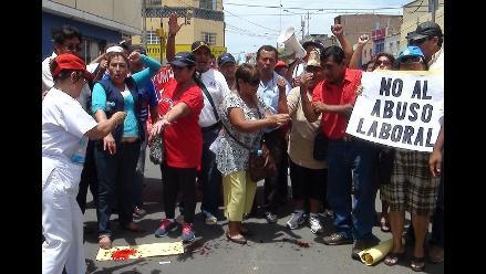 CGTP realizó manifestación contra régimen laboral único estatal