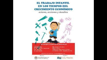 Realizarán conversatorio por el Día de la Lucha Contra el Trabajo infantil