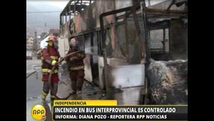 Bus interprovincial se incendió en calle de Independencia