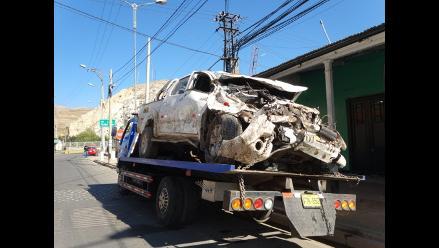 La Oroya: despiste y vuelco de camioneta deja dos heridos