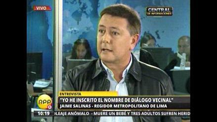 Salinas insinúa que Diálogo Vecinal cobra a Villarán por candidatura