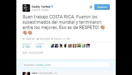 Holanda vs. Costa Rica: famosos reconocen esfuerzo de ticos en Twitter