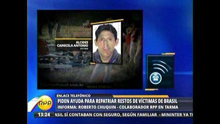 Familiares piden ayuda para repatriar restos de víctimas de Brasil