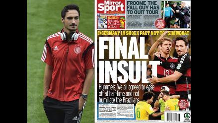 Mats Hummels: En el descanso decidimos parar un poco para no humillar a Brasil