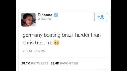 Rihanna comparó partido Brasil vs. Alemania con golpiza de Chris Brown