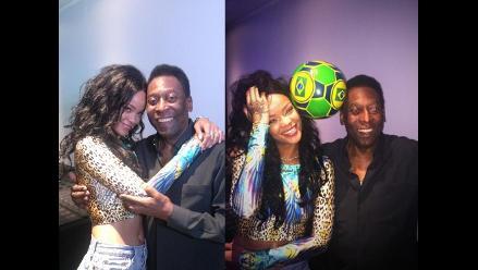 Rihanna y Pelé se juntaron previo a la final del Mundial Brasil 2014