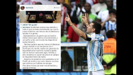 Lionel Messi explicó porqué selección no fue al recibimiento del Obelisco
