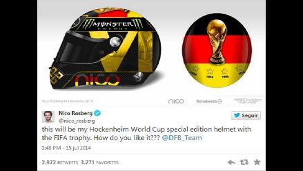 La FIFA prohíbe a Nico Rosberg usar casco en honor a la Alemania campeona