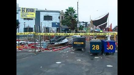 Un día después, la avenida Brasil luce llena de andamios desarmados