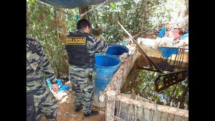 Vraem: Policía Antidrogas destruye dos pozas de maceración de hoja de coca