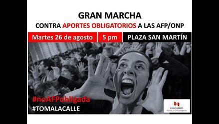 Convocan a marcha para el martes contra aportes obligatorios a AFP y ONP