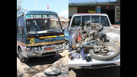 Huancayo: una couster arrolló a un motociclista en la carretera central