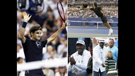 Roger Federer debuta con triunfo en el US Open ante la mirada de Jordan