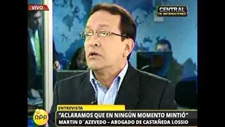 Abogado de Castañeda: estamos ante un probable fraude