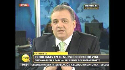 Guerra García denuncia boicot contra el Corredor Azul