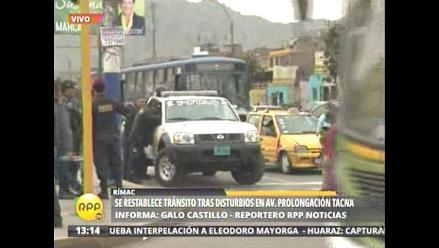 Se restablece el tránsito en la avenida Prolongación Tacna