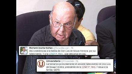 Luis de Souza Ferreira: Directivos y clubes lamentan su muerte en Twitter