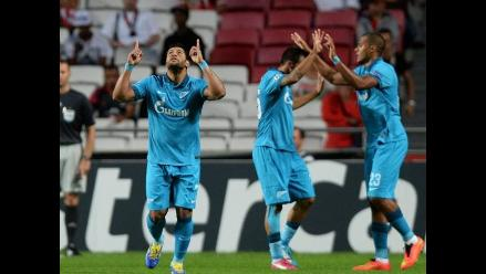 Hulk marcó el primer gol de la Champions League en el duelo Zenit-Benfica