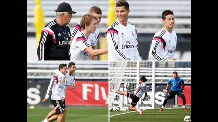 Real Madrid entrenó pensando en Elche con Cristiano Ronaldo y James juntos
