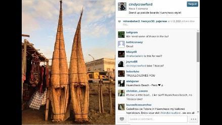 Trujillo: Cindy Crawford promociona Huanchaco en redes sociales