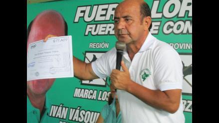 Yván Vásquez apelará su exclusión en la contienda electoral por Loreto