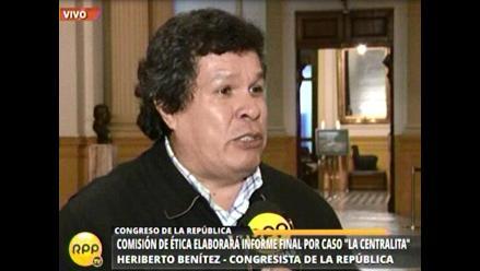 Benitez pide a PJ declarar infundado pedido para leventarle inmunidad