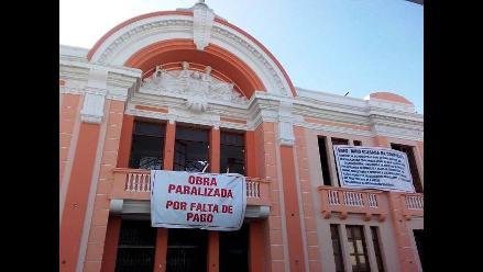 Trujillo: paralizan obra de Teatro Municipal por falta de pago