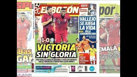 Perú 1-0 Guatemala: Estas portadas dejó el triunfo ´blanquirrojo´