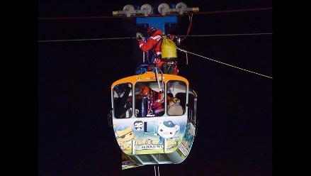 Rescatan a familia atrapada por mal tiempo en teleférico Rheinseilbahn
