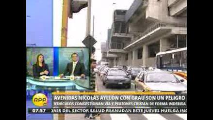 Cruce entre Nicolás Ayllón y Grau es un peligro