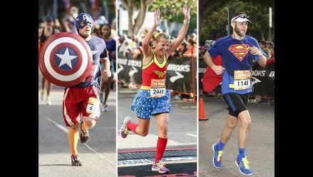 Superhéroes y divertidos personajes corrieron maratón en Los Ángeles