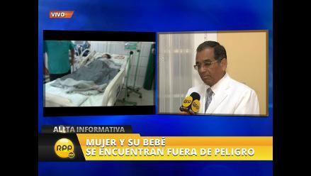 Mujer traída a Lima por insuficiencia respiratoria da a luz por cesárea