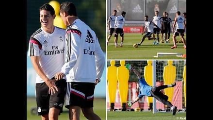 James Rodríguez y Cristiano Ronaldo se divierten en práctica del Real Madrid