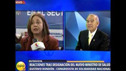 Rondón: exministra de Habich no cumplió con expectativas del sector salud