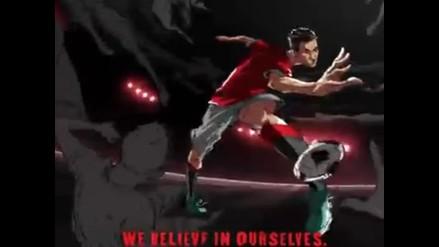 Di María, Rooney y Van Persie en comercial animado de Manchester United