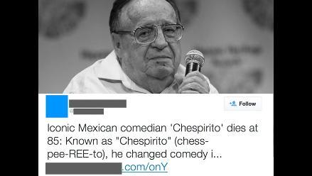 Alerta en Twitter por virus asociado a Chespirito
