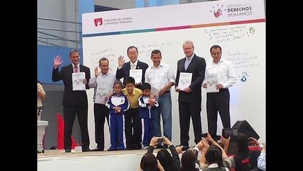 Ollanta Humala, Daniel Figallo y Ban Kin Moon firman compromiso por DD.HH