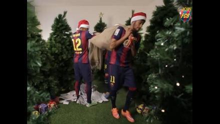 Youtube: Neymar ya vive la Navidad en Barcelona y se burla de Rafinha
