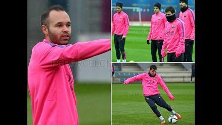 Messi, Iniesta, Xavi y el Barcelona se entrenaron en medio de aguacero