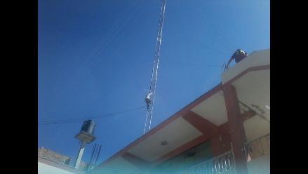 Cajamarca: sujeto intentó lanzarse desde una antena de 90 metros