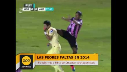 Las peores faltas en el fútbol en 2014: Ronaldinho y Cruzado son protagonistas